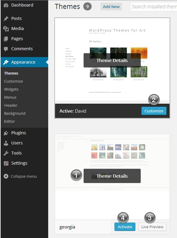 Change wordpress themes wordpress for artists for How to edit wordpress templates