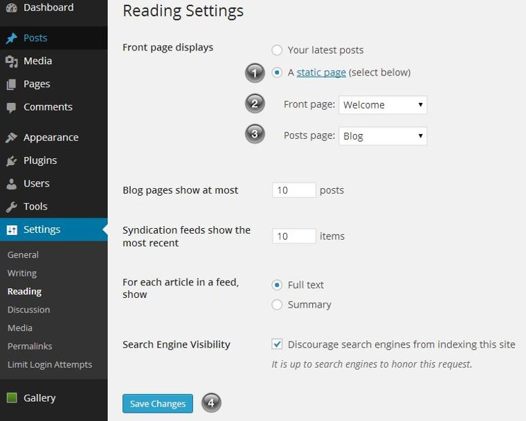 How to change the landing page of a WordPress site