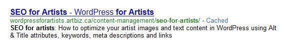 seo for artists meta description example