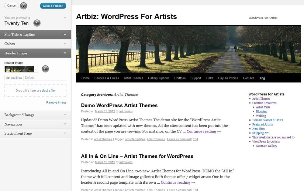 Theme customizations for WordPress 3.4