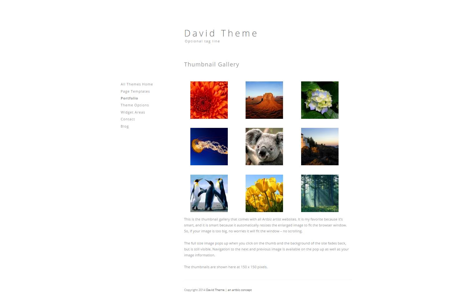 David WordPress Theme for art