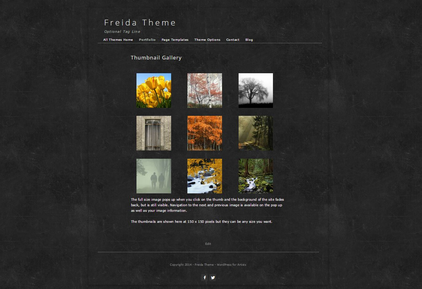 The Freida Artist Theme has a background image that can be easily changed. The theme comes with an extra page template; one with a sidebar and one without as seen in this screen shot. Also included standard with all themes is the showcase template.