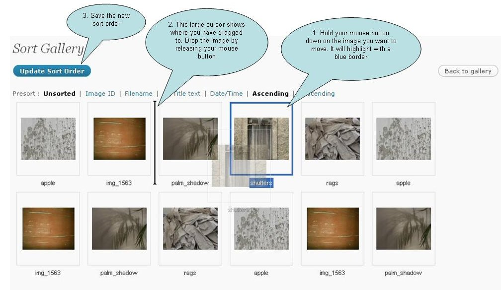 sort gallery images step 2