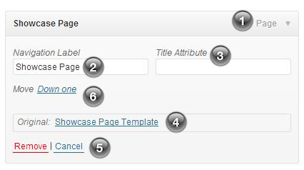 WordPress individual menu item options