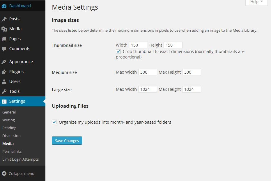 WordPress Settings - media