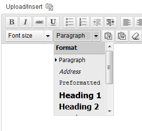 Where to find and apply the heading tag in the editor
