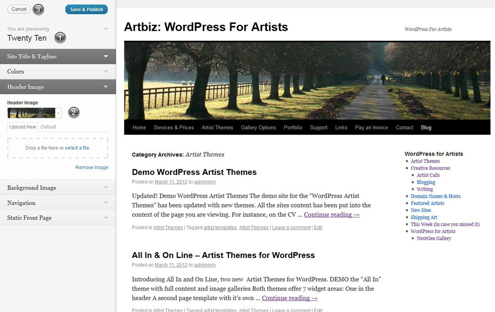 Theme customizations for WordPress 3.4