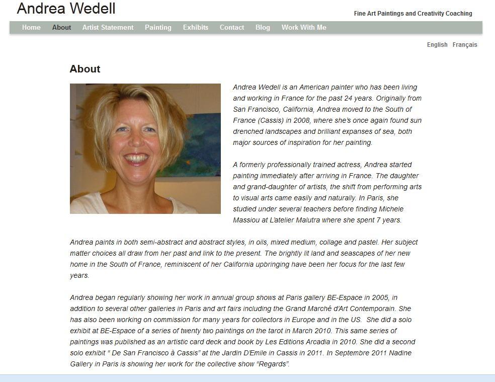 artist about page content wordpress artist websites