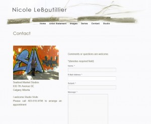 Artist Website Contact Page
