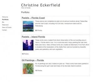 Artist website portfolio page