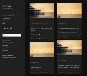 Dark color scheme showing the grid blog posts on blog landing page